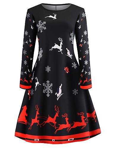 b507a39935b7 Women's Holiday Going out Vintage Elegant Slim Swing Dress - Animal  Snowflake Print Spring Cotton Black L XL XXL