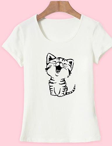 abordables Hauts pour Femmes-Tee-shirt Femme, Animal - Coton Imprimé Sortie Basique Chat Blanche