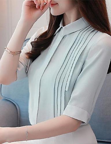 billige Topper til damer-V-hals Skjorte Dame - Ensfarget / Hundetannmønster, Drapering Vintage / Grunnleggende Hvit