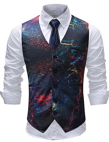 voordelige Herenblazers & kostuums-Heren Grote maten Vest, Geometrisch / Kleurenblok / Ruitjes V-hals Katoen / Acryl / Polyester Regenboog