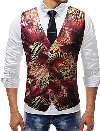 voordelige Herenblazers & kostuums-Heren Dagelijks Standaard Herfst / Winter Normaal Vest, Effen / Flora / Botanisch V-hals Mouwloos Spandex Rood