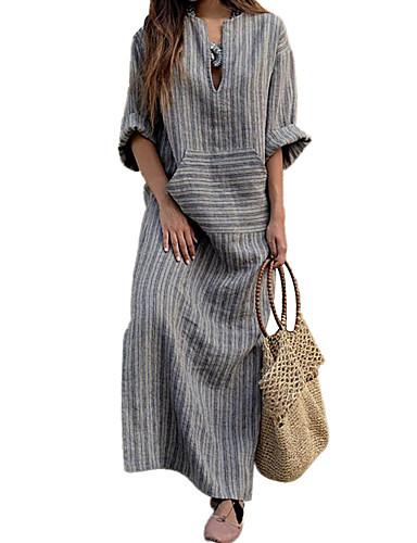 voordelige Maxi-jurken-Dames Street chic Ruimvallend Schede Jurk - Gestreept V-hals Maxi