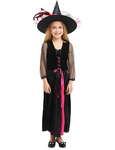 a206e20491d0d Witch Costume Kid's Girls' Halloween Christmas Halloween Carnival Festival  / Holiday Polyster Black Female Carnival Costumes Solid Colored Halloween