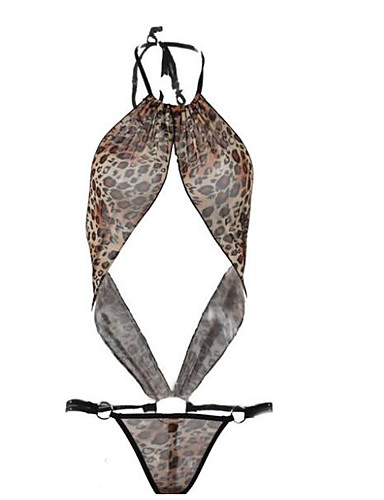 4702a102c257e Women s Plus Size Super Sexy Suits Nightwear - Backless Leopard   Halter  Neck