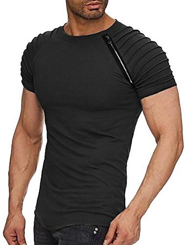 男性用 Tシャツ ベーシック ラウンドネック ソリッド ブラック XL / 半袖