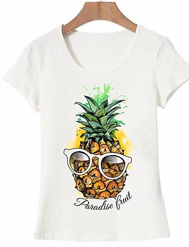 abordables Camisas y Camisetas para Mujer-Mujer Básico Noche Estampado - Algodón Camiseta Fruta Piña Blanco L