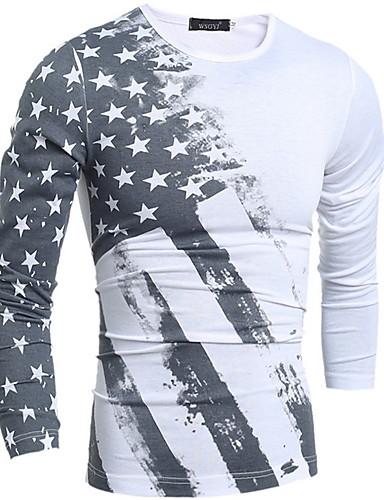 hesapli Erkek Tişörtleri ve Atletleri-Erkek Pamuklu Tişört Desen, Çizgili Temel Beyaz / Uzun Kollu / Bahar