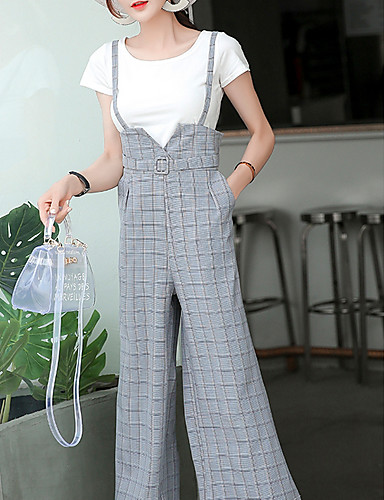 abordables Pantalons Femme-Femme Quotidien Ample Ample Pantalon - Damier Taille haute Gris Kaki S M L