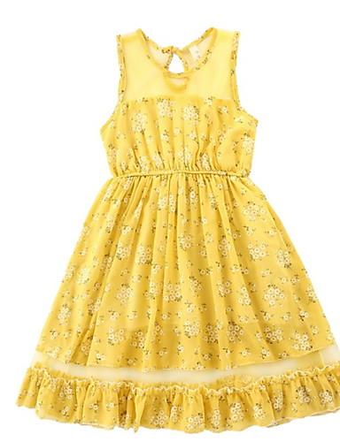 Djeca Djevojčice Osnovni Jednobojni Bez rukávů Haljina Bijela 140