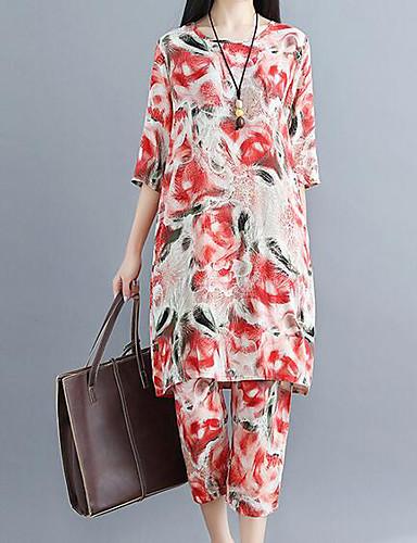 billige Todelt dress til damer-Dame Aktiv Store størrelser Bomull Lang Bluse / Sett Bukse - Trykt mønster, Blomstret