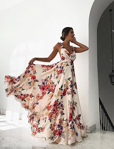 abordables Robes Femme-Femme Plage Bohème Maxi Balançoire Robe - Imprimé, Fleur Taille haute V Profond Eté Blanc M L XL Sans Manches