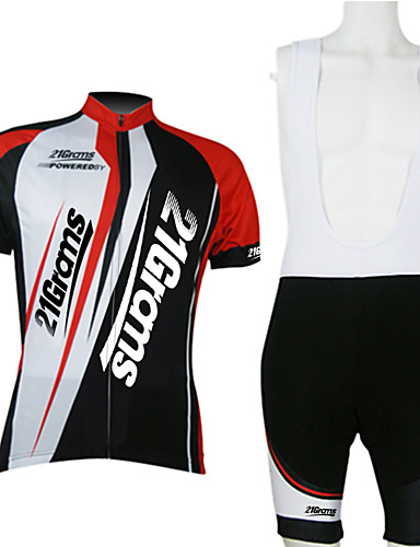 cheap Cycling Clothing-21Grams Men's Unisex Short Sleeve Cycling Jersey with Bib Shorts - Red / White Bike Clothing Suit Breathable Quick Dry Back Pocket Sports Polyester Mountain Bike MTB Road Bike Cycling Clothing Apparel