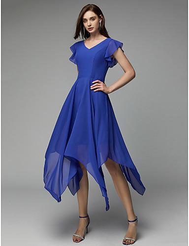 7b6686523f Krój A W serek Asymetryczna Szyfon Spotkanie towarzyskie Sukienka z Plisy  przez TS Couture®
