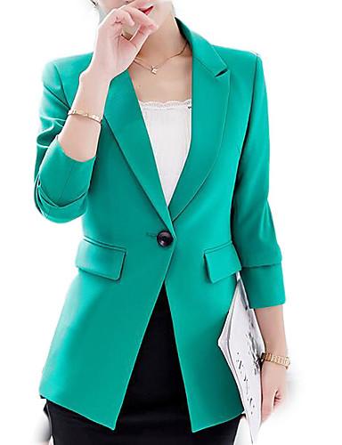 abordables Manteaux & Vestes Femme-Femme Travail Basique Printemps / Automne Normal Blazer, Couleur Pleine Revers en Pointe Manches Longues Polyester Noir / Vert / Mince