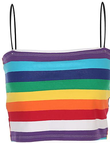 billige Dametopper-Bomull Tynn Med stropper Singleter Dame - Regnbue, Trykt mønster Grunnleggende Regnbue / Sommer / Sexy