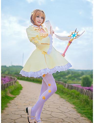 voordelige Cosplay & Kostuums-geinspireerd door Cardcaptor Sakura Kinomoto Sakura Anime Cosplaykostuums Cosplay Kostuums Sterren Das / Rokken / Sokken Voor Dames / Chiffon