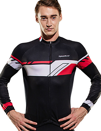 cheap Cycling Clothing-SPAKCT Men's Long Sleeve Cycling Jersey Black / Red Black / Blue Bike Jersey Top Breathable Moisture Wicking Quick Dry Sports Elastane Polyster Mountain Bike MTB Road Bike Cycling Clothing Apparel
