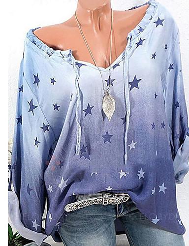 abordables Camisas y Camisetas para Mujer-Mujer Básico Noche Camisa, Cuello Camisero Corte Ancho Floral / Geométrico Rosa XXXL / Sexy