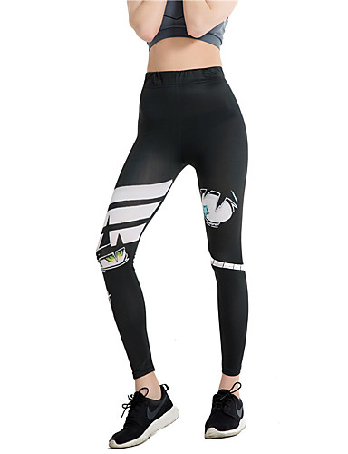 voordelige Shall We®-Sportkleding Leggings en maillots Dames Opleiding / Prestatie Elastisch / Charmeuse Patroon / Print / Elastiek Hoog Broeken