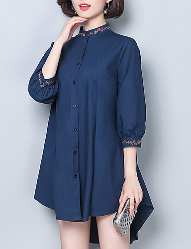 abordables Camisas y Camisetas para Mujer-Mujer Trabajo Camisa, Escote Chino Un Color Azul Marino XXXL