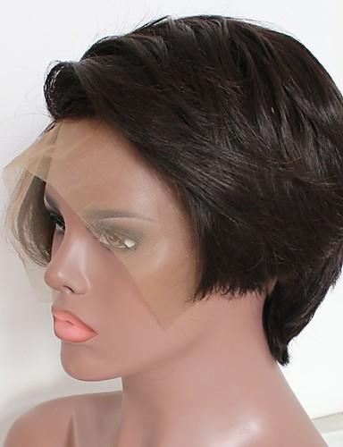 billige Blondeparykker med menneskehår-Remy Menneskehår Blonde Forside Parykk Bobfrisyre Lagvis frisyre Midtdel stil Brasiliansk hår Krop Bølge Naturlig Parykk 130% Hair Tetthet med baby hår Naturlig hårlinje Afroamerikansk parykk 100