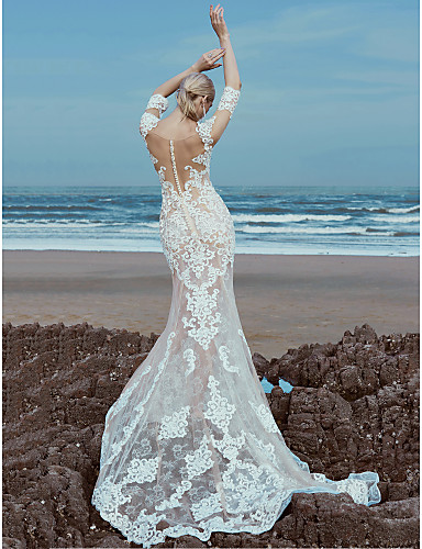 cheap Wedding Dresses-Mermaid / Trumpet Scoop Neck Sweep / Brush Train Lace / Tulle Made-To-Measure Wedding Dresses with Beading / Lace by LAN TING BRIDE® / Beautiful Back
