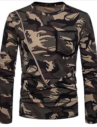 男性用 Tシャツ ラウンドネック カモフラージュ ブラウン L / 長袖