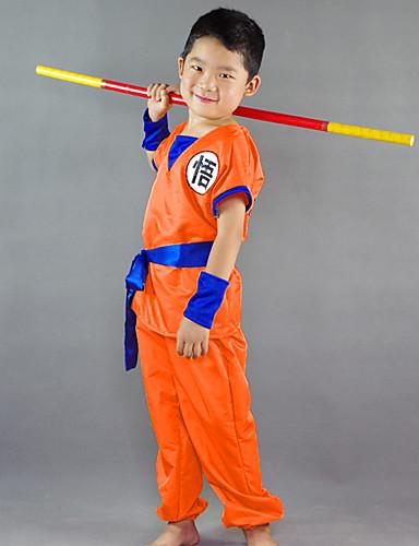 povoljno Anime kostimi-Inspirirana Dragon Ball Son Goku Anime Cosplay nošnje Japanski Cosplay Suits Riječ / izreka Kratkih rukava Top / Hlače / Pojas Za Dječaci