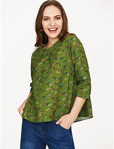 billige Topper til damer-Bomull Løstsittende T-skjorte Dame - Blomstret, Trykt mønster Grunnleggende Grønn