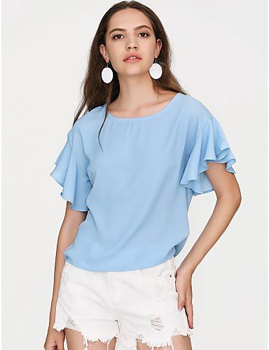 abordables Camisas y Camisetas para Mujer-Mujer Básico / Chic de Calle Noche Volante Blusa Corte Ancho Un Color Manga Farol Negro L / Verano