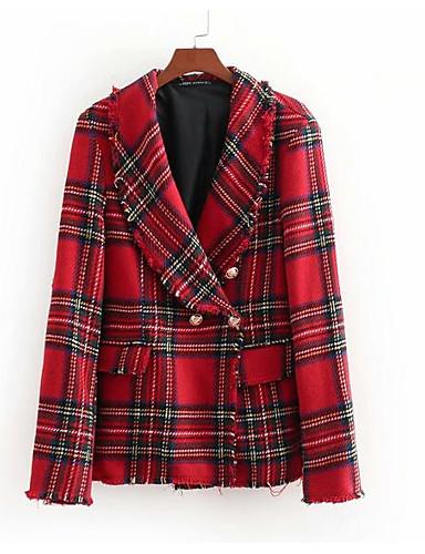 abordables Manteaux & Vestes Femme-Femme Quotidien Normal Blazer, Couleur Pleine Col Rond Claudine Manches Longues Coton / Polyester Rouge S / M / L