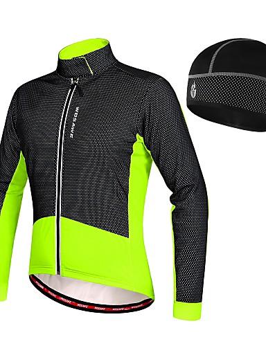 ca0246a35 WOSAWE Men s Cycling Jacket Bike Winter Fleece Jacket Jersey Hat Thermal    Warm Fleece Lining Sports Patchwork Elastane Fleece Winter Black   Red    Green ...