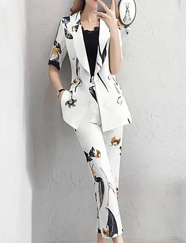 ราคาถูก เซตชุดทูพีซสำหรับผู้หญิง-สำหรับผู้หญิง Street Chic / Sophisticated ชุด - ลายสก็อต กางเกง