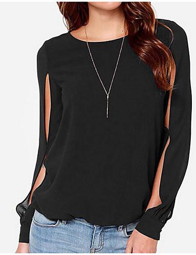abordables Camisas y Camisetas para Mujer-Mujer Básico / Chic de Calle Tallas Grandes Plisado Camisa, Cuello Barco Corte Ancho Un Color Manga Farol Negro XXXXL