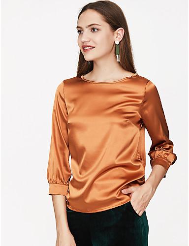 povoljno Ženske majice-Bluza Žene Dnevno / Izlasci Jednobojni Moderna Dusty Rose Sive boje / Saten