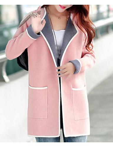 cheap Women's Sweaters-Women's Going out Color Block Long Sleeve Slim Regular Cardigan, Round Neck Pink / Gray / Fuchsia XXL / XXXL / 4XL