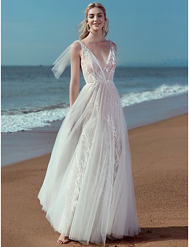 de70a3ade5 A-Line V Neck Floor Length Lace   Tulle Made-To-Measure Wedding Dresses  with Appliques   Lace by LAN TING BRIDE®   Beautiful Back