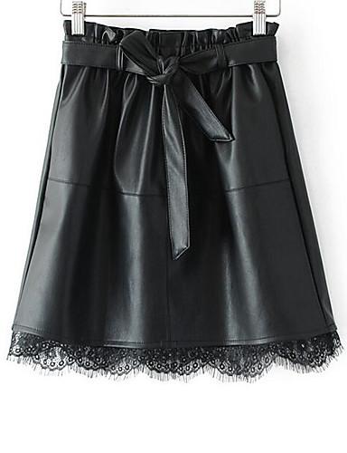 abordables Jupes-Femme Basique Quotidien Mini Trapèze Jupes - Couleur Pleine Noir S M L