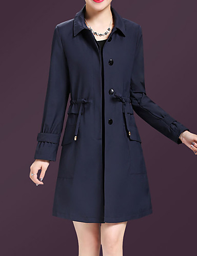 03459bf60c33d Women s Daily   Going out Street chic   Sophisticated Fall   Winter Plus  Size Regular Trench Coat