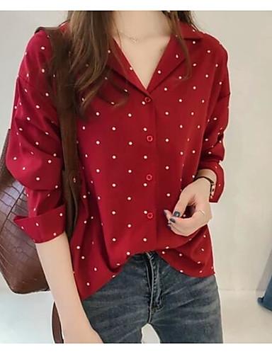 povoljno Majica-Bluza / Majica Žene Izlasci Na točkice Kragna košulje Slim Crn