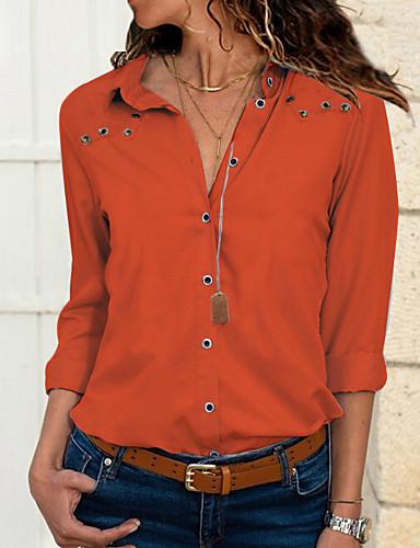 povoljno Ženske majice-Veći konfekcijski brojevi Majica Žene - Osnovni Dnevno Jednobojni Kragna košulje Slim Blushing Pink