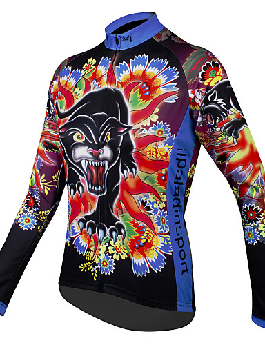 cheap Cycling Clothing-ILPALADINO Women's Long Sleeve Cycling Jersey - Rainbow Rainbow Floral / Botanical Plus Size Bike Jersey Top Breathable Quick Dry Sports 100% Polyester Mountain Bike MTB Road Bike Cycling Clothing