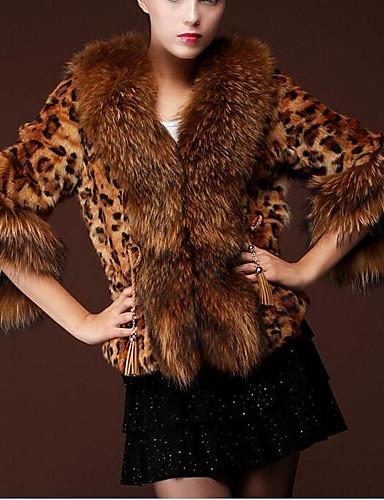 Per donna Quotidiano Essenziale Autunno inverno Corto Cappotto di pelliccia, Leopardata Con colletto Manica a 3/4 Pelliccia sintetica Marrone XL / XXL / XXXL