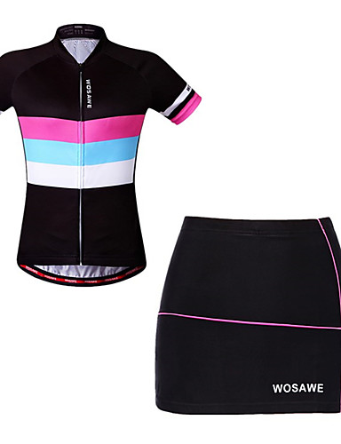 cheap Cycling Clothing-WOSAWE Women's Short Sleeve Cycling Jersey with Shorts - Black Bike Skirt Jersey Padded Shorts / Chamois Breathable Moisture Wicking Quick Dry Reflective Strips Sports Elastane Horizontal Stripes