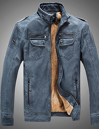 cheap Leather Jackets-Men's Daily Basic Winter / Fall & Winter Plus Size Short Leather Jacket, Solid Colored Rolled collar Long Sleeve PU Black / Camel / Yellow XL / XXL / XXXL