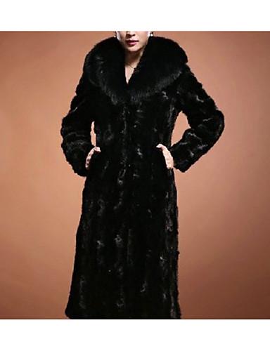 זול פרוות ועור לנשים-בגדי ריקוד נשים שחור XXL XXXL 4XL מעיל פרווה אחיד צווארון V