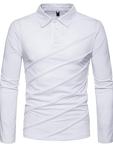 voordelige Herenpolo's-Heren Polo Effen Overhemdkraag Zwart / Lange mouw