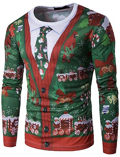 voordelige Uitverkoop-Heren T-shirt Kerstmis Sneeuwvlok Ronde hals Sneeuwvlok Rood / Lange mouw / Herfst / Winter