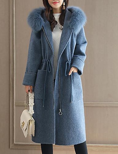 voordelige Damesjassen & trenchcoats-Dames Dagelijks Street chic Maxi Jas, Modern Capuchon Lange mouw Polyester blauw / Grijs