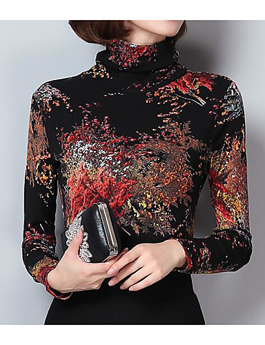 povoljno Ženske majice-Majica s rukavima Žene - Ulični šik Izlasci Geometrijski oblici Dolčevita Slim Crn